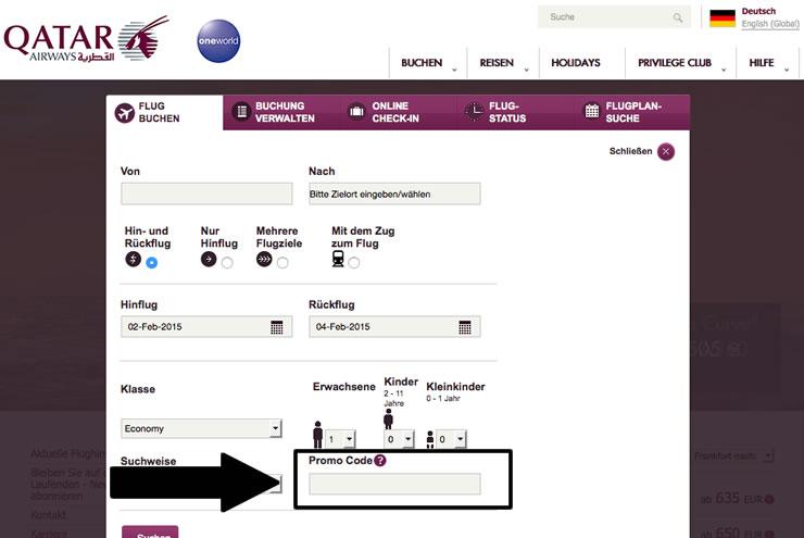 HIer können Sie den Qatar Gutschein eintragen