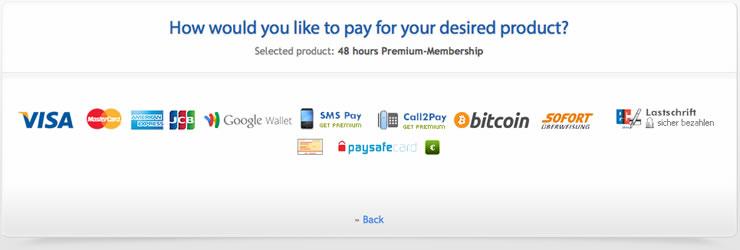 Uploaded stellt viele Zahlungsmethoden bereit