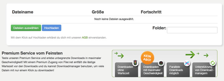 Sicherer Download und Upload bei Filer.net