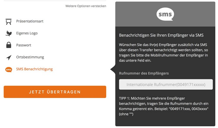 SMS Service bei Fileload.io